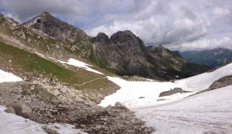 Weg von der Mindelheimer Hütte Richtung Gaisshorn